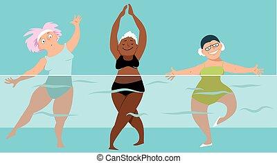 Water aerobics group - Three mature ladies doing water ...