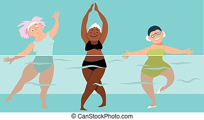 Water aerobics group - Three mature ladies doing water...