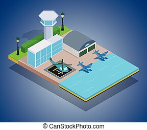 Water airport concept banner, isometric style