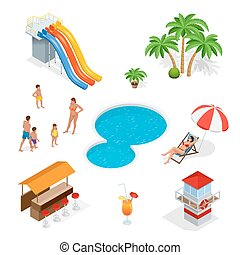 Water amusement park playground with slides and splash pads for family fun set abstract illustration. Water park and friends with water bar on a white background. Flat 3d isometric illustration.