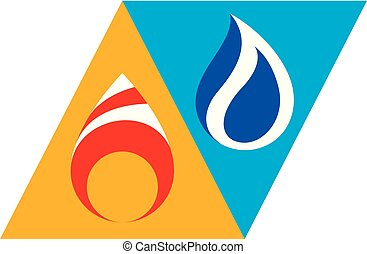 Water and fire as opposite nature elements, Yin yang conceptual emblem.