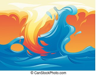 Water and fire yin yang symbol 3