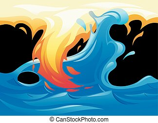 Water and fire yin yang symbol