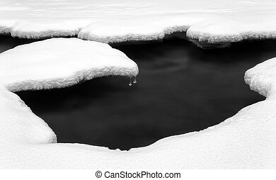 Water and snow. Long exposure black and white.