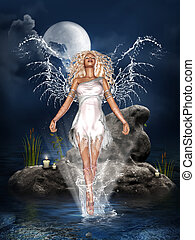 Water Angel - a beautiful water angel on the sea! Candles on...