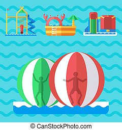 Water aquapark playground with slides and splash pads for family fun vector illustration.