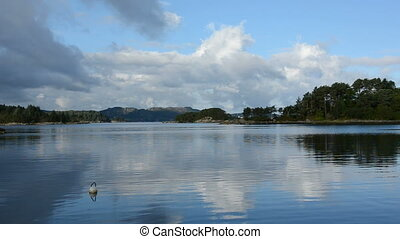 Water around Bergen in Norway - Water and lake with islands...