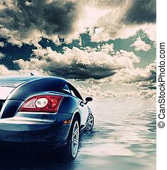 water, auto, sportende, weerspiegelde
