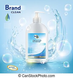 bottle with hygienic soap