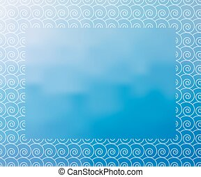 Water background with white waves border