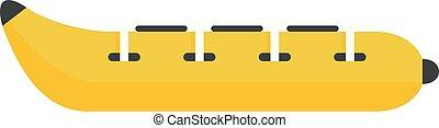 Water banana icon, flat style