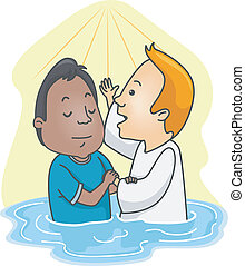 Water Baptism - Illustration of a Man Being Baptized in...