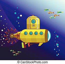 water, bathyscaphe, gele, onder