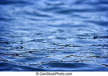 Beautiful blue water surface close up photo
