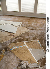 water, beschadigd, plasterboard, lekkend, tapijt