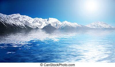 water, besneeuwd, bergen., winter, abstact