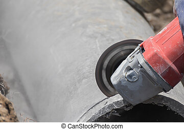 water, beton, pijpen, holle weg, loodgieters