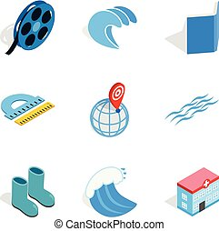 Water bewitched icons set, isometric style - Water bewitched...