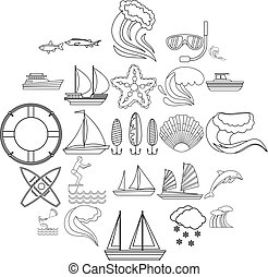 Water bewitched icons set, outline style - Water bewitched...