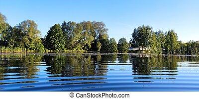 water., bleu, arrière-plan., paysage., arbres, ciel