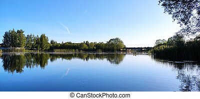 water., bleu, pont, arrière-plan., paysage, arbres, ciel, sur, reservoir.