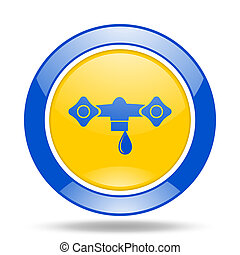water blue and yellow web glossy round icon