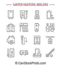 Water boiler, thermostat, electric gas solar heaters and other house heating appliances line icons. Thin linear pictogram. Equipment store signs