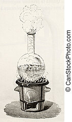 Water boiling - Old illustration of water boiling in a ...