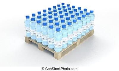 water bottelt, set, op, houten, pallet, vrijstaand, op wit,...
