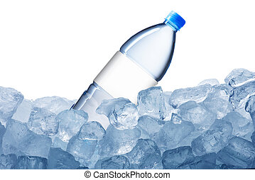 Water Bottle and Ice Cubes - Cold Water Bottle on Ice cubes