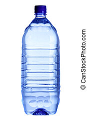 Water bottle close-up isolated over the white background