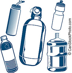Clip art of various types of water bottle