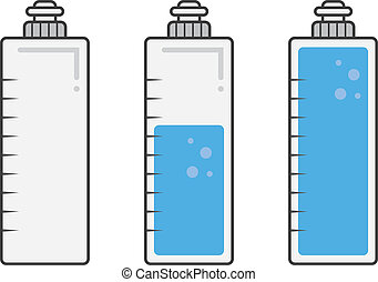 Water Bottle Fills - Isolated water bottles filled and empty...