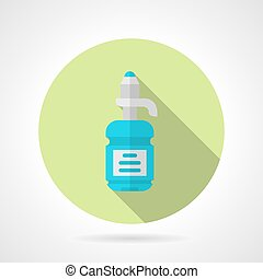 Water bottle flat round vector icon