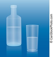 Water Bottle Glass Drink - Bottle and glass filled with cold...