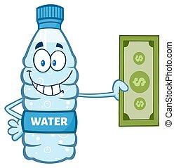 Water Bottle Holding A Dollar Bill