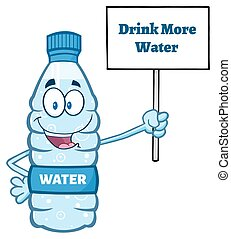 Cartoon Illustation Of A Water Plastic Bottle Mascot Character Holding Up A Sign With Text Drink More Water