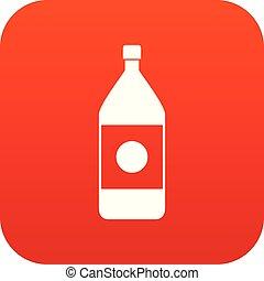 Water bottle icon digital red