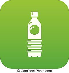 Water bottle icon green vector
