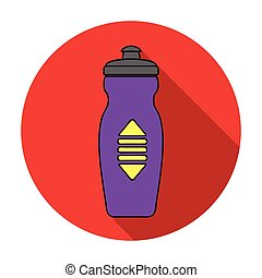 Water bottle icon in flat style isolated on white background. Sport and fitness symbol stock vector illustration.