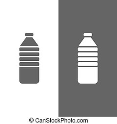Water bottle icon on black and white background