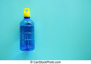 Water bottle on blue background