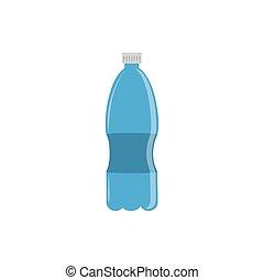 water bottle plastic flat icon blue