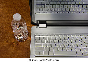 water bottle with laptop