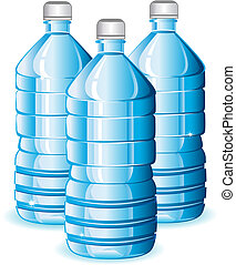 Water bottles - Isolated blue bottles of clean water for ...