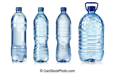 water bottles - four water bottles isolated on white...