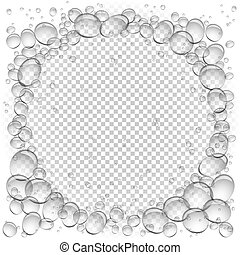 water bubbles circle frame transparent