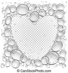 water bubbles heart frame transparent