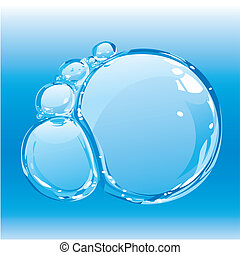 Water bubbles - composition of pure water bubbles, editable...