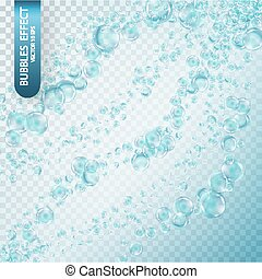 Water bubbles isolated on a transparent checkered background.